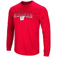 Men's Colosseum Wisconsin Badgers Gradient Long-Sleeve Tee