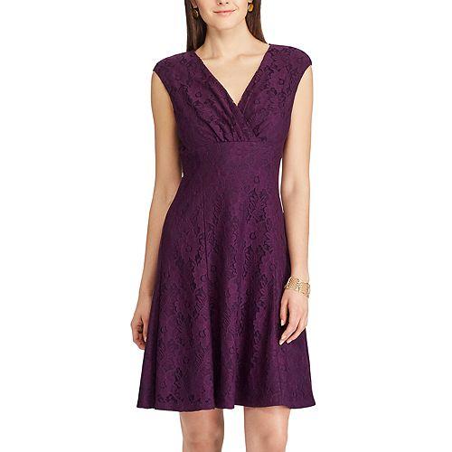 Women S Chaps Lace Fit Amp Flare Dress