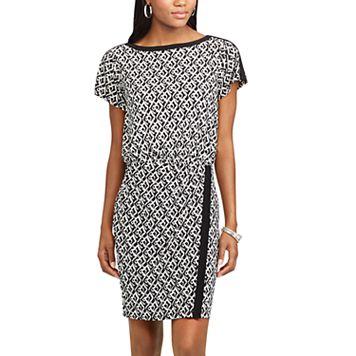 Women's Chaps Geometric Blouson Dress