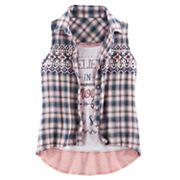Girls 7-16 Knitworks Plaid Shirt & Graphic Tank Set