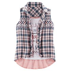Girls 7-16 Knitworks Plaid Shirt & Graphic Tank Set