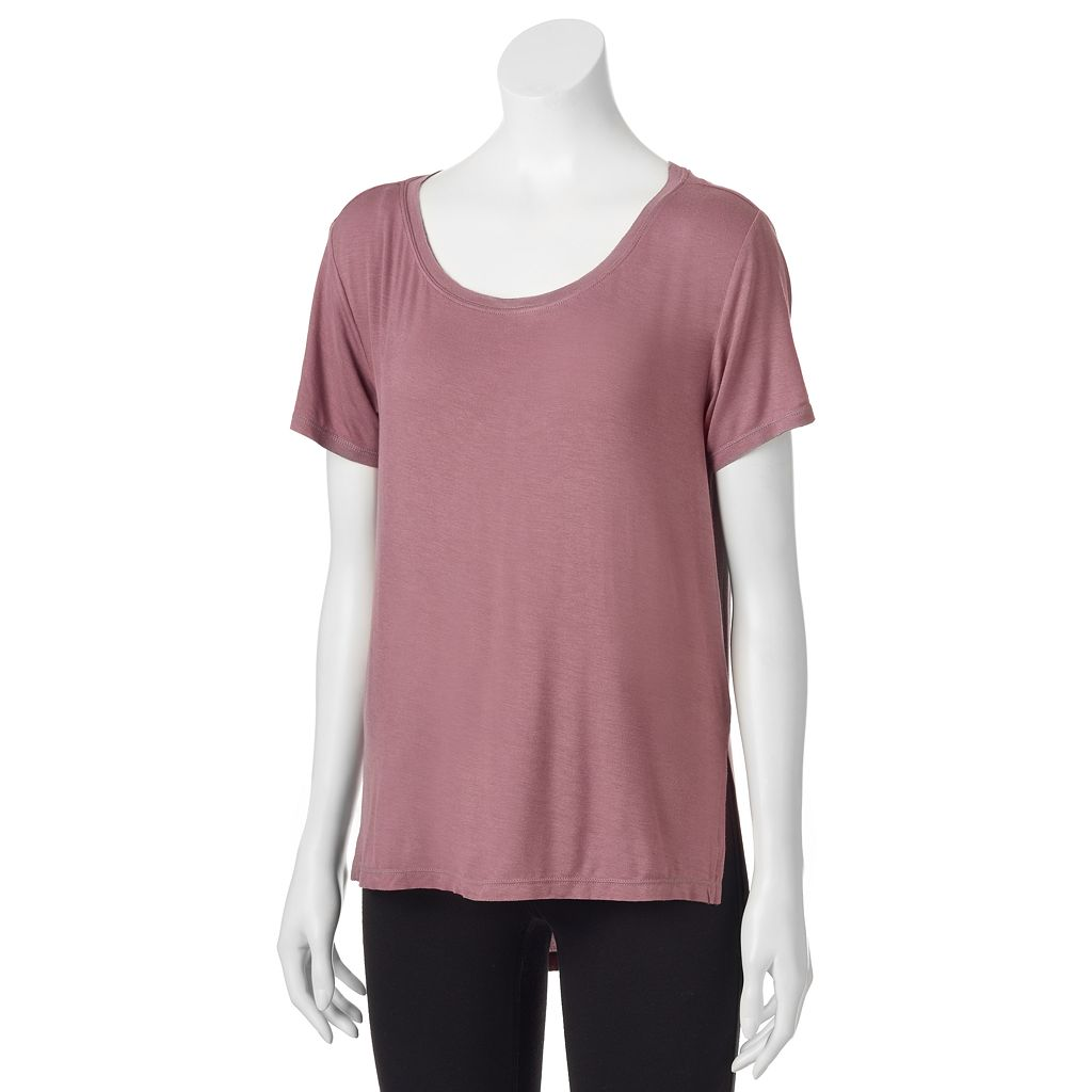 Juniors' Mudd® Solid High-Low Hem Tee