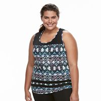 Plus Size Wild Majesty Printed Mesh Yoke Tank