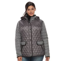 Plus Size Gallery Quilted Mixed-Media Jacket