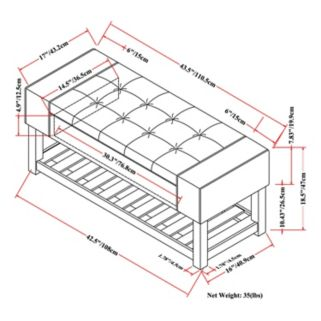 Simpli Home Finley Storage Ottoman Bench