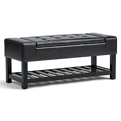 Simpli Home Finley Storage Ottoman Bench