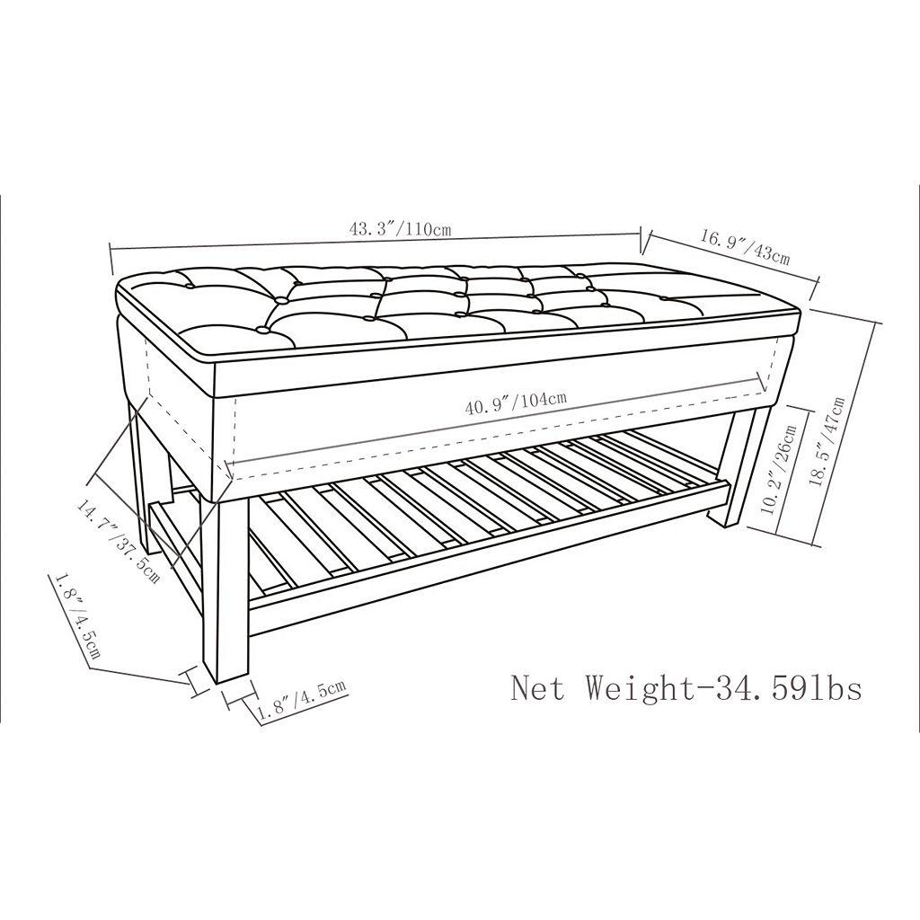 Simpli Home Lomond Storage Ottoman Bench