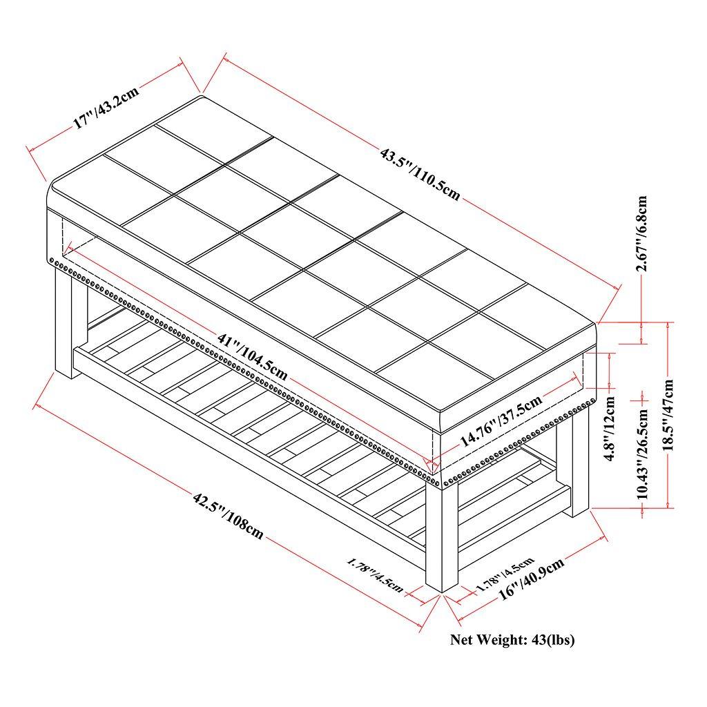 Simpli Home Radley Storage Ottoman Bench