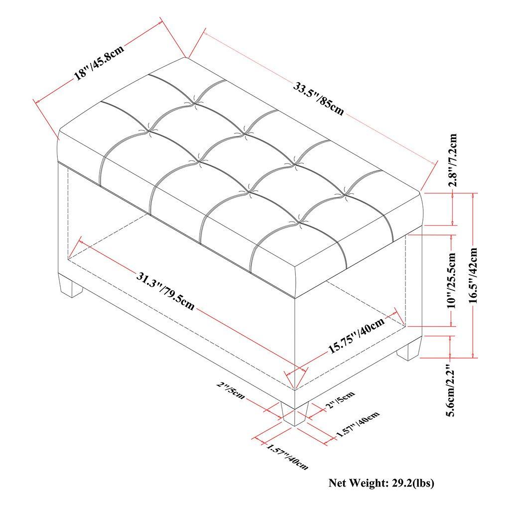 Simpli Home Sienna Storage Ottoman Bench