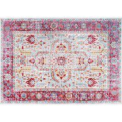 nuLOOM Vivid Silk Edra Vintage Persian Framed Floral Rug