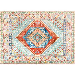 nuLOOM Vivid Silk Alda Tribal Framed Medallion Rug
