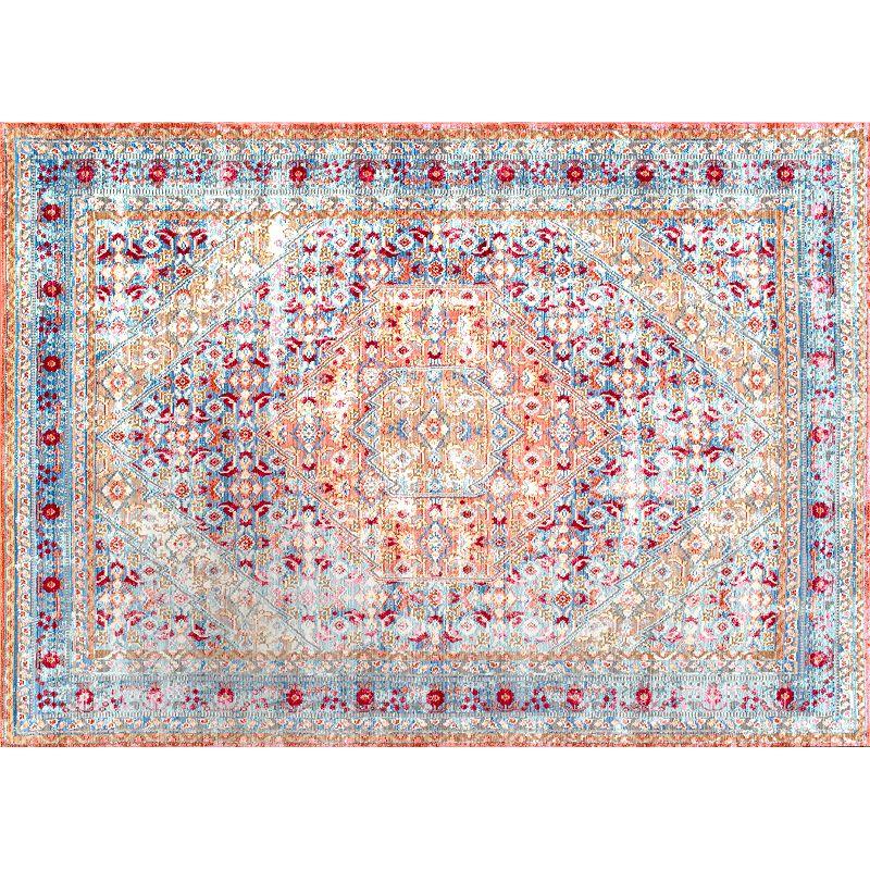 nuLOOM Vivid Silk Daria Persian Framed Floral Rug, Light Blue, 8X11 Ft Product Image