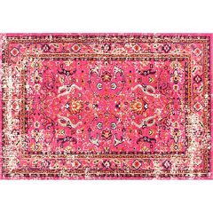 nuLOOM Casablanca Anabel Distressed Framed Floral Rug