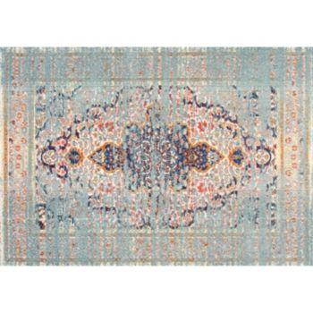 nuLOOM Casablanca Sarita Distressed Persian Framed Floral Rug
