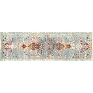 nuLOOM Casablanca Sarita Distressed Persian Framed Floral Rug
