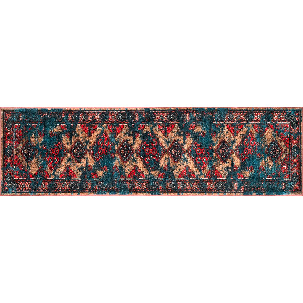 nuLOOM Giza Lavonna Tribal Distressed Framed Medallion Rug
