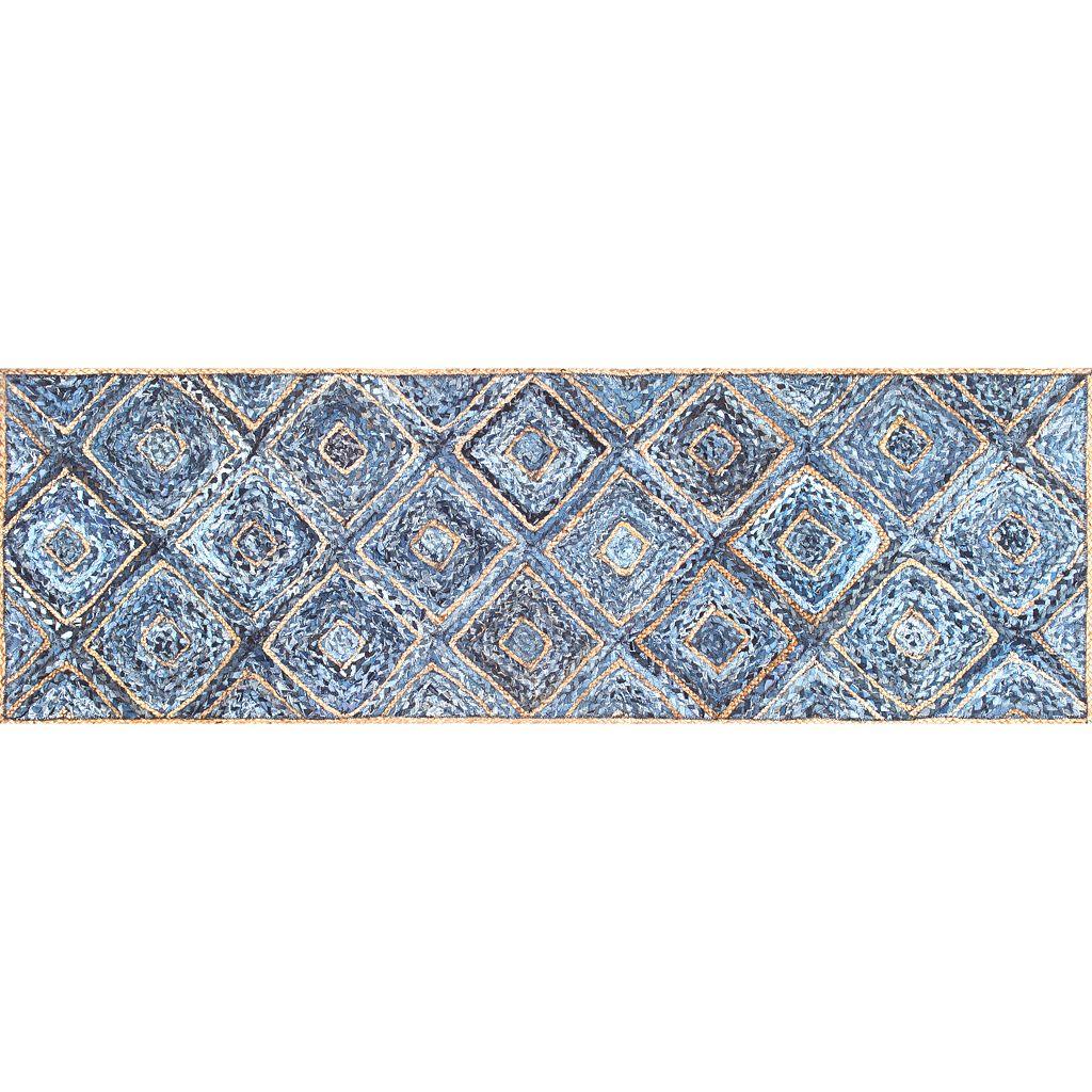 nuLOOM Dune Road Rima Diamonds Geometric Braided Jute Blend Rug