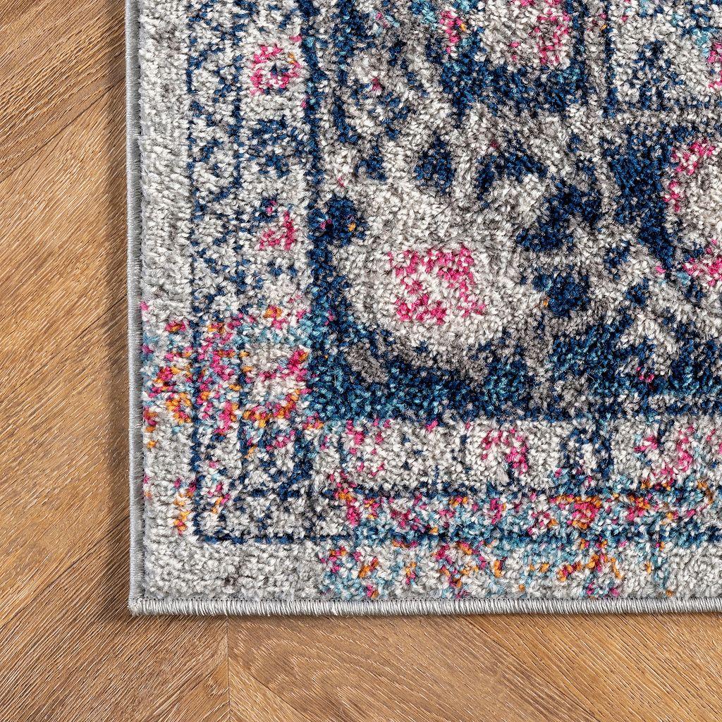 nuLOOM Bodrum Raylene Vintage Persian Framed Floral Rug