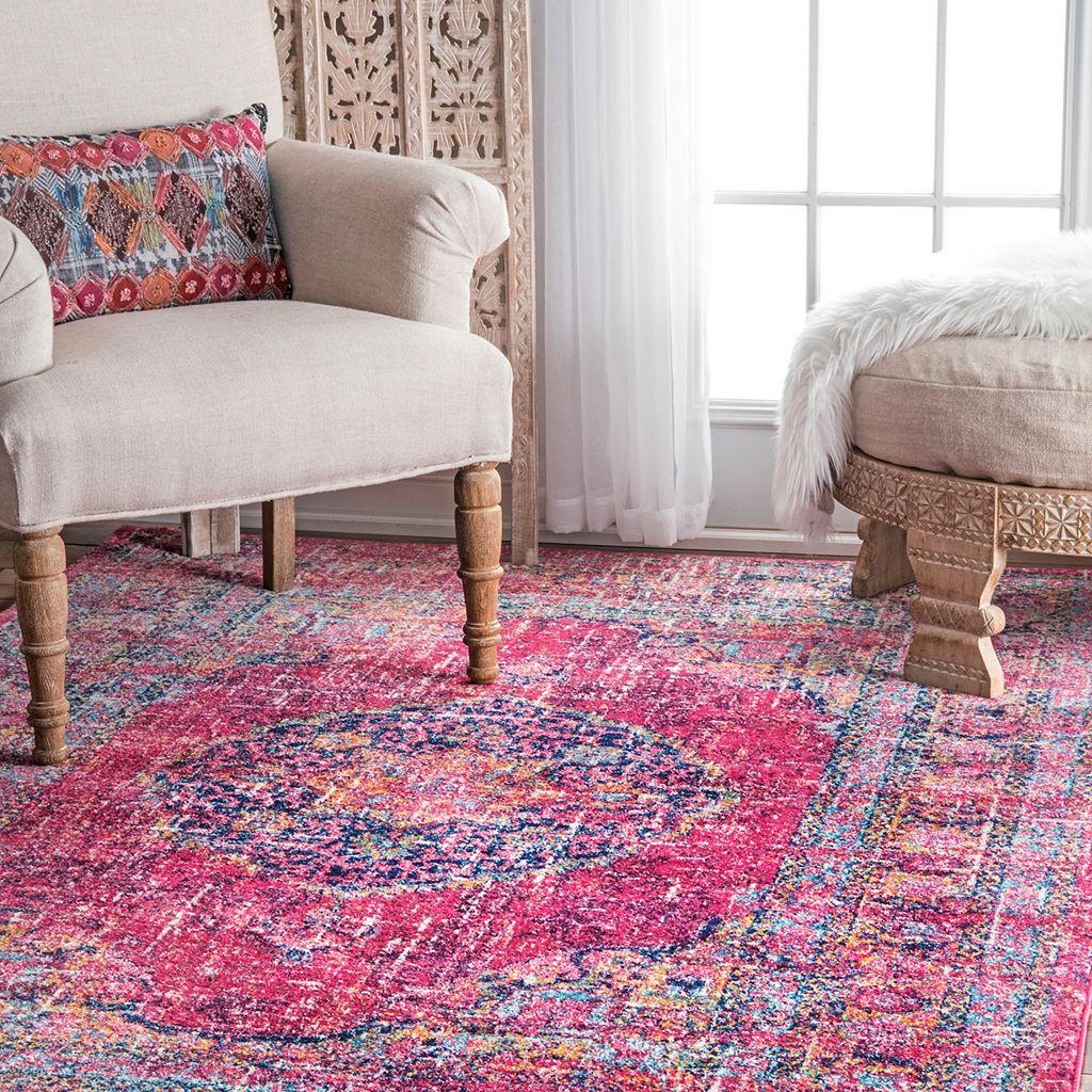 nuLOOM Bodrum Arla Vintage Persian Framed Floral Rug