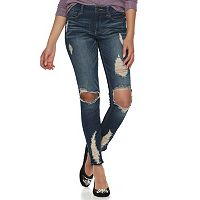 Juniors' Almost Famous Destructed Skinny Jeans
