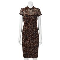 Juniors' Almost Famous Print Illusion Mock Neck Dress