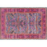 nuLOOM Stone Washed Yoshie Persian Framed Floral Rug