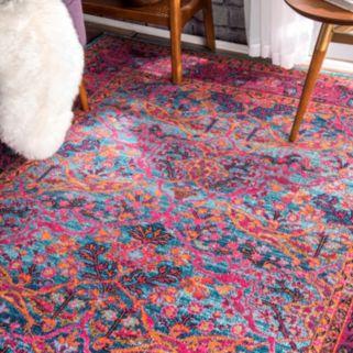 nuLOOM Stone Washed Yoshie Persian Framed Floral Rug