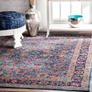 nuLOOM Stone Washed Isela Vintage Persian Framed Floral Rug