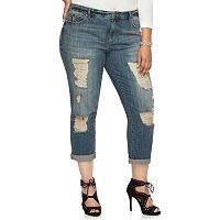 Plus Size Jennifer Lopez Ripped Boyfriend Jeans