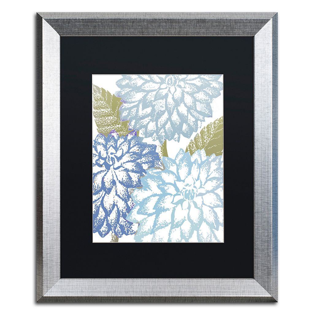 Trademark Fine Art Sea Dahlias I Silver Finish Framed Wall Art