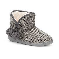 Women's SONOMA Goods for Life® Bubble Knit Pom-Pom Bootie Slippers