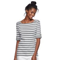 Women's Croft & Barrow® Rolled Button-Tab Top