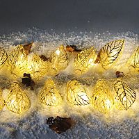 Manor Lane 10-ft. LED Gold Finish Leaf String Lights