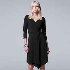 Petite Simply Vera Vera Wang Simply Noir Faux-Wrap Dress