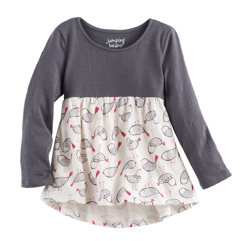 Toddler Girl Jumping Beans® Print Long Sleeve High-Low Hem Tunic