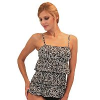 Women's A Shore Fit Tummy Slimmer Tiered Bandeaukini Top