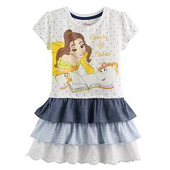 Disney's Beauty and the Beast Belle Toddler Girl 'Beauty and Brains' Tiered Ruffle Dress