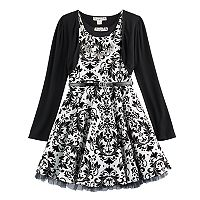 Girls 7-16 Knitworks Flocked Skater Dress & Shrug Set with Necklace
