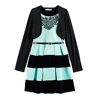 Girls 7-16 Knitworks Striped Halter Skater Dress & Shrug Set