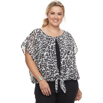Plus Size AB Studio Cheetah Split Top
