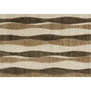 Loloi Enchant Neutral Wavy Lines Shag Rug
