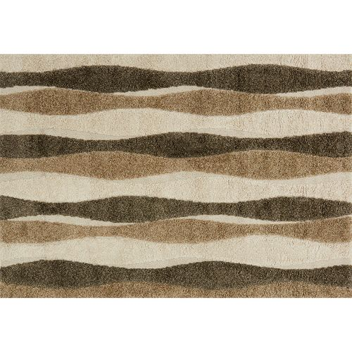 Loloi Enchant Neutral Wavy Lines Shag Rug