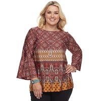 Plus Size Apt. 9® Geometric Bell Sleeve Necklace Top