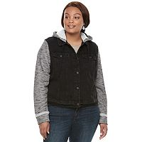 Juniors' Plus Size Mudd® Knit Sleeve Jean Jacket
