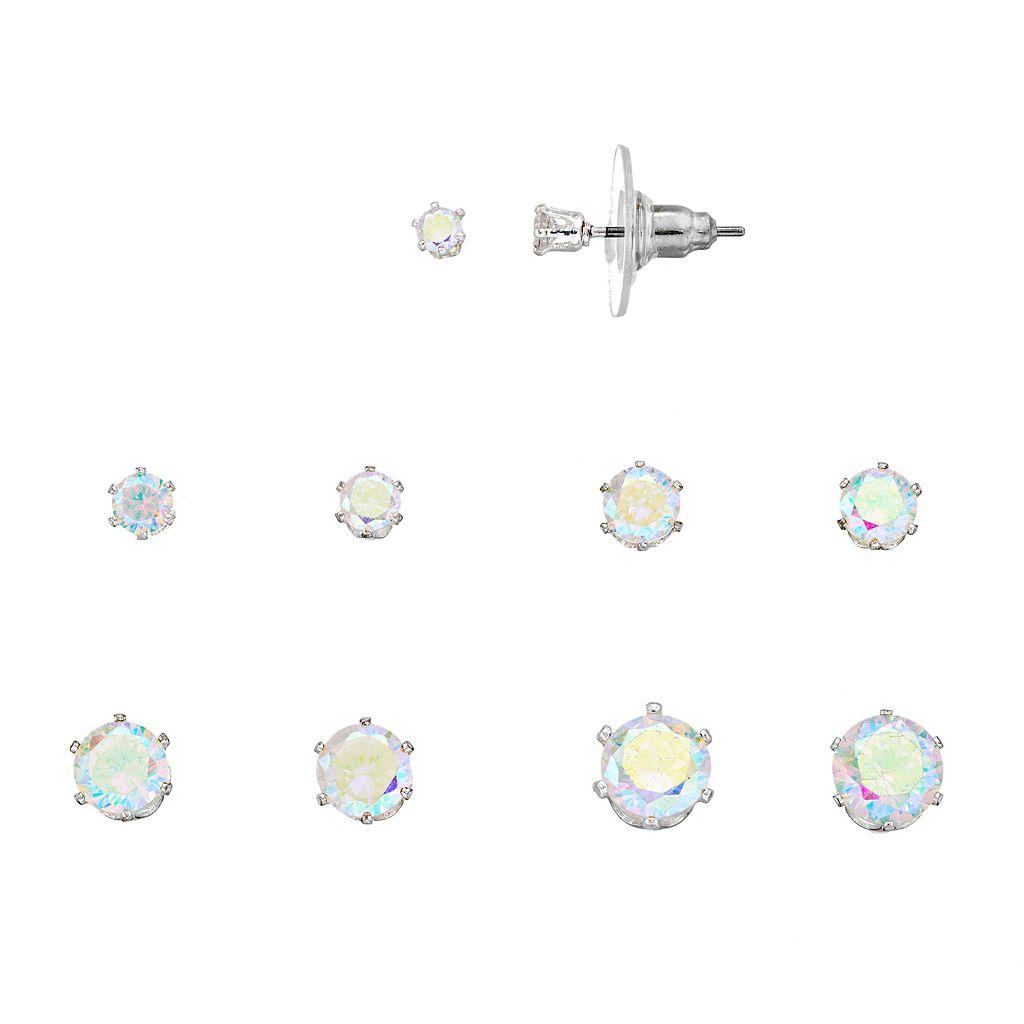 Cubic Zirconia Round Stud Earring Set
