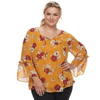 Plus Size Apt. 9® Floral Chiffon Blouse