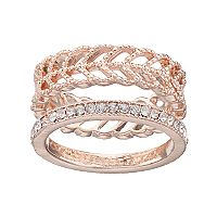 LC Lauren Conrad Pave & Openwork Chevron Ring Set