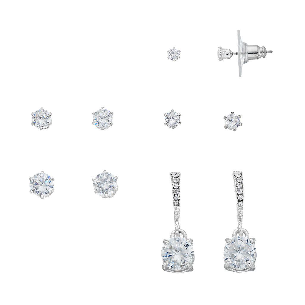 Cubic Zirconia Round Stud & Drop Earring Set
