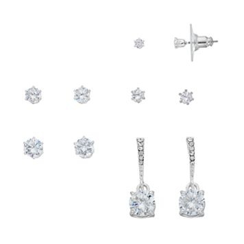 Cubic Zirconia Round Stud & Drop Earring Set