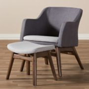 Baxton Studio Mid-Century Modern Arm Chair & Stool Set